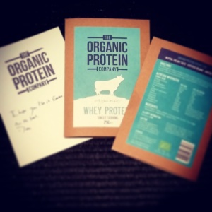Organic Protein Company samples: 100% whey protein, no fillers here!