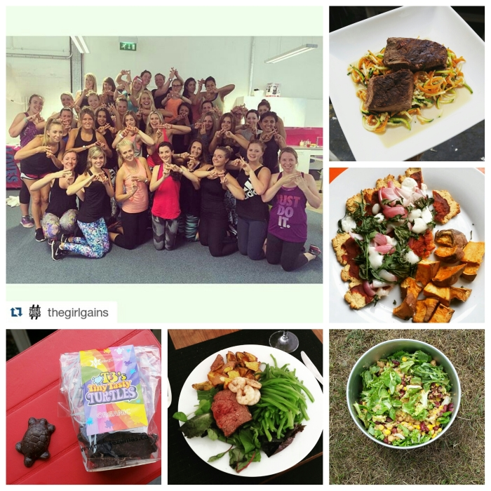 Clockwise from top left: The #GirlGains event, ostrich steak, coconut flour pizza & wedges, BBQ salad, celebratory lunch, tiny turtles