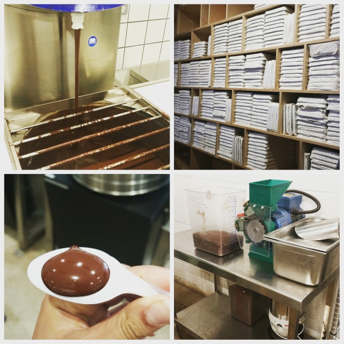 From L - R: The chocolate processor (fountain!); a library of maturing chocolate; chocolate fresh from the fountain; the sorting machine which only uses air and scales to divide the nibs and shells.